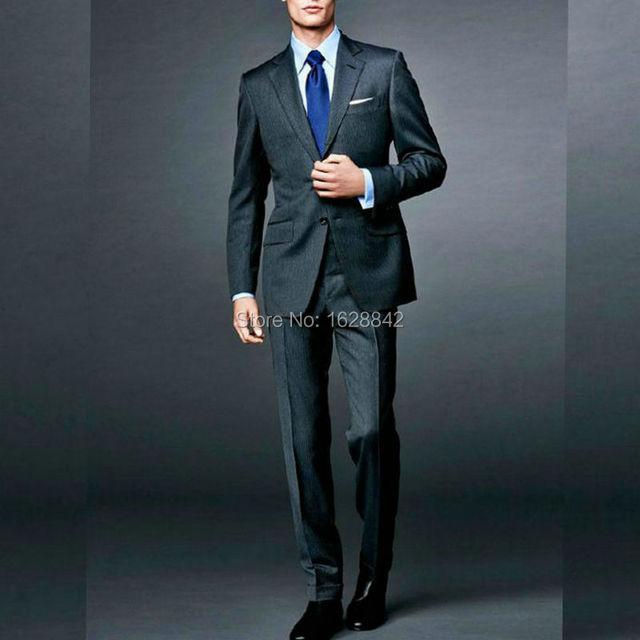 2016 Мода Черный Свадебные Костюмы Для Мужчин На Заказ Slim Fit жених Смокинги Индивидуальные Плюс Размер Костюм Homme Плюс Размер терно