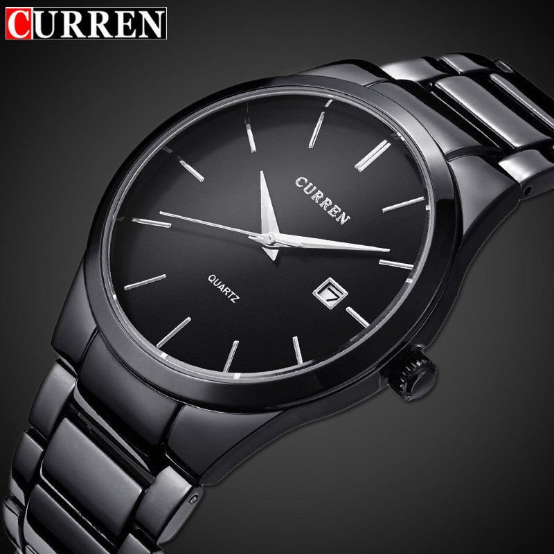 Curren 8106 Men's Luxury Black Stainless Steel Analog Quartz Watch Men New Fashion Sport Wristwatch Male Clock Relogio Masculino ysdx 398 fashion stainless steel self stirring mug black silver 2 x aaa
