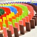 100 Pçs/set Qualidade blocos de dominó de madeira do bebê brinquedos educativos para a primeira infância colorido dominó padrão