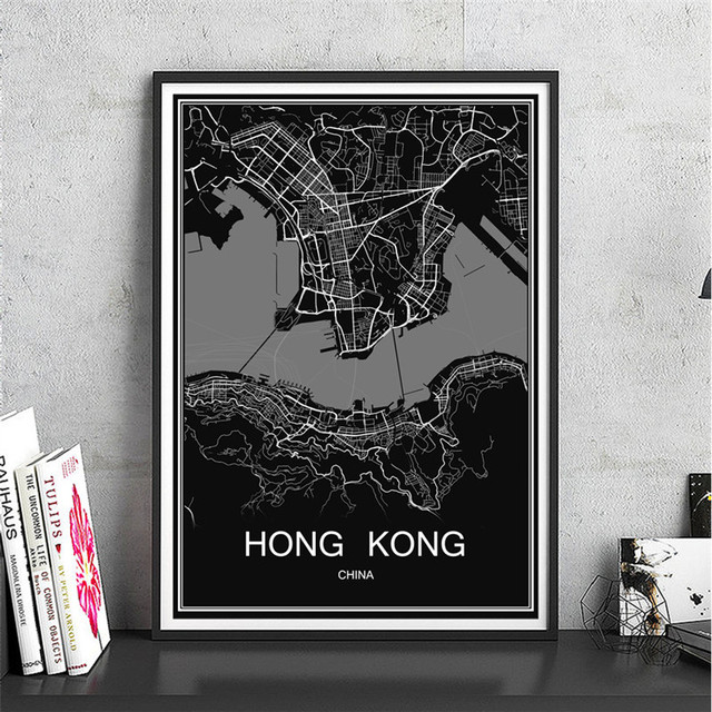 World map hong kong abstract print picture modern city poster canvas world map hong kong abstract print picture modern city poster canvas coated paper oil painting living gumiabroncs Choice Image