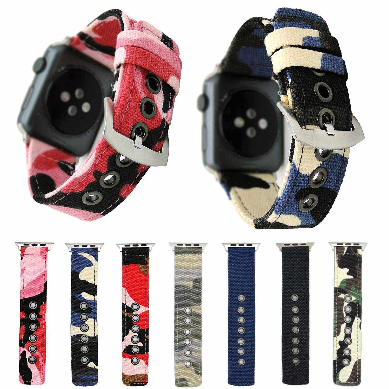 Sports Camouflage Fabric Band for Apple Watch Strap Durable Canvas Bracelet for iWatch Series 3 2 1 Wristband 42mm 38mm Adapters