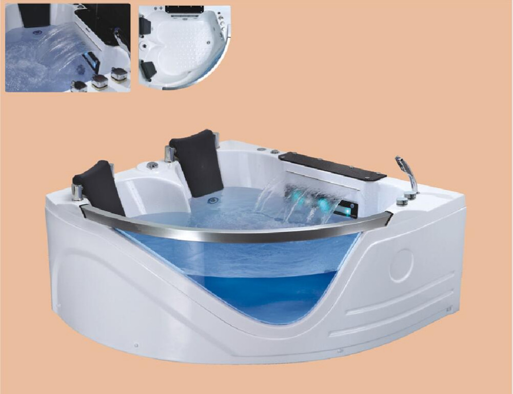 Wall Corner whirlpool Bathtub Acrylic Hydrogenmassage Surfing Underwater Colourful LED Light Double People SPA  NS3003