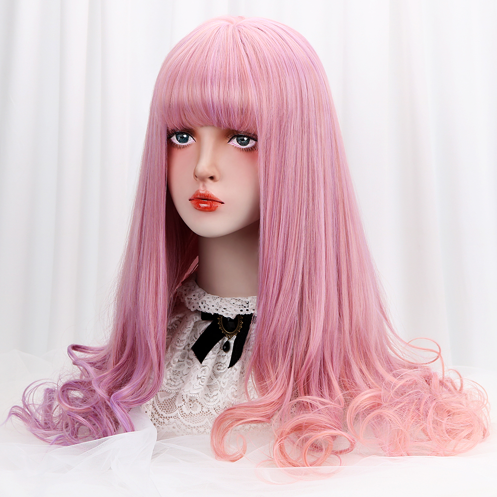 Comprar Peluca Cosplay Lolita de 28 con flequillo púrpura Rosa Ombre largo  ondulado pelo sintético pelucas Cosplay para mujer 100% fibra de alta  temperatura ... 0b154b502265