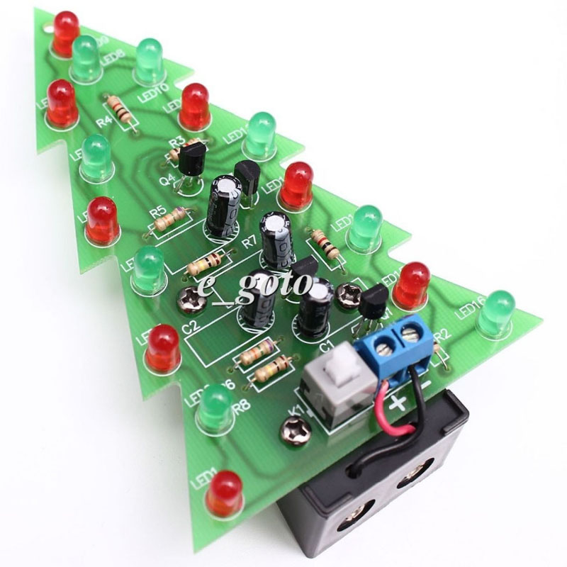 Christmas Tree Lights Flashing Led Diy Kit Red Green Flash Led Circuit Electronic Fun Puzzle Suite In Integrated Circuits From Electronic Components