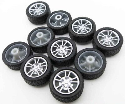 30pcs 16MM mini rubber wheel / four-wheel drive wheel / diy small production technology/Technology model parts/toy accessories/