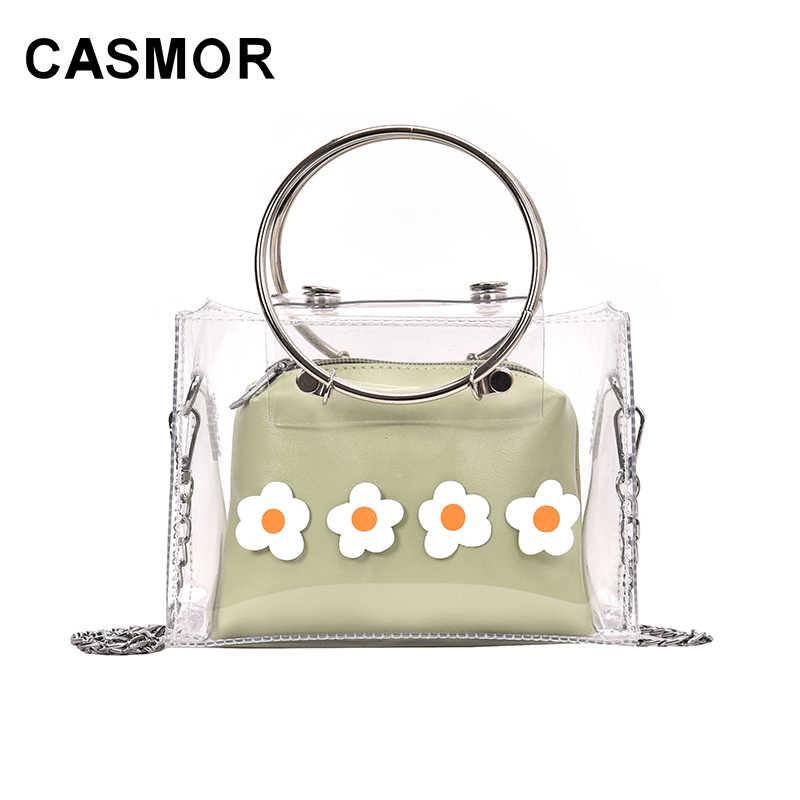 CASMOR 2019 Limpar Transparente Feminino Ombro Saco Crossbody Moda Feminina Flor Mini Pequeno Bonito Meninas Saco Composto Bolsas