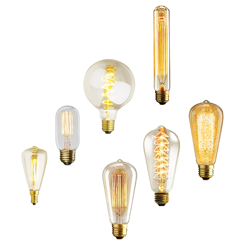 Retro Edison Bulbs ST64 G95 ST48 T10 T185 T300 T45 E27 E14 220V Incandescent Bulbs 25W 40W 60W Filament Vintage Light Warm White