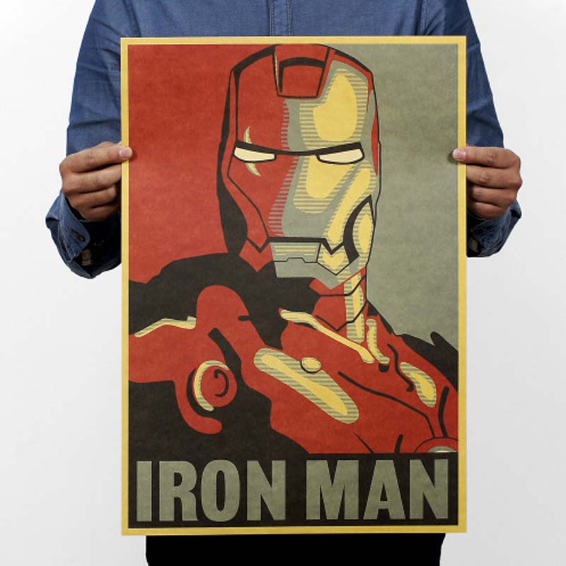 Iron Man Vintage Movie Poster Kraft Paper Posters Drawing Classic Poster Bar Home Decoration Painting Wall Sticker