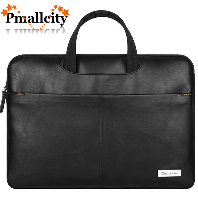 timeless design 97e8d 88c15 US $21.77 29% OFF|PU Leather Laptop Bag 15.6 14 13 inch Notebook Sleeve Bag  for Macbook Pro Air 13 15 Case Single Shoulder Messenger Bag Men Women-in  ...