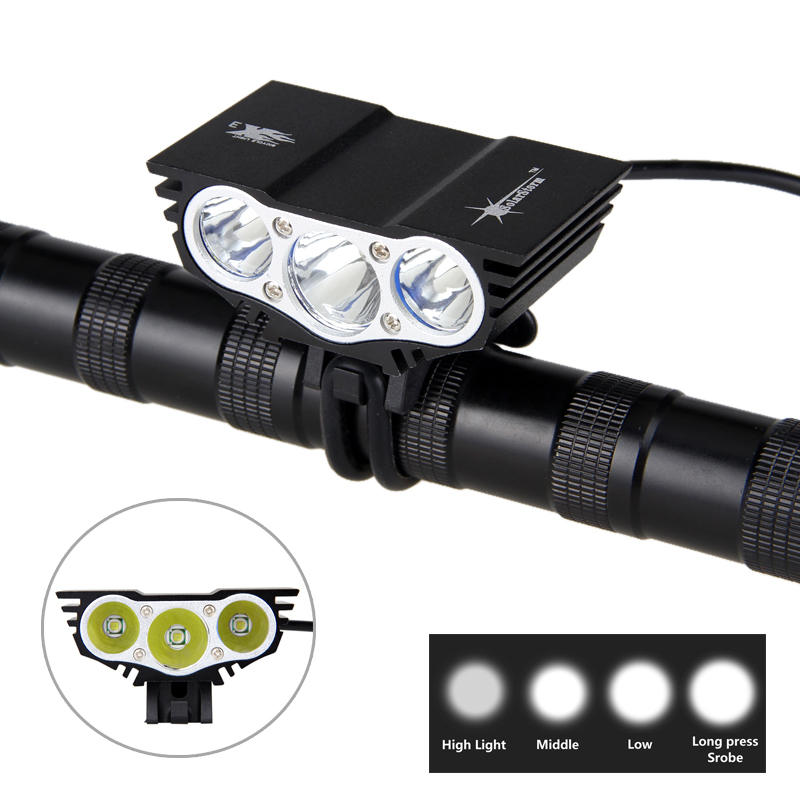 8000 Lm 3xXM-L T6 LED Bicycle Light Bike Lights HeadLight Headlamp+12000mAh Battery Pack+Headband With Charger