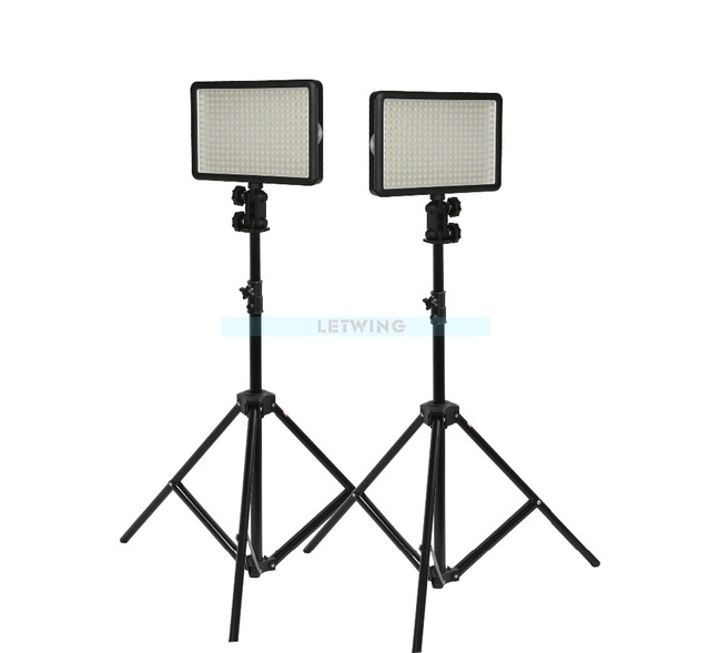 2x Ox Led 308y Sn302 Light Stand With Yellow Lighting Studio Video Kit For Wedding Fashion Tv Adjust 3300 5600k
