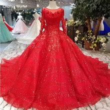 LSS268 ball gown red wedding dresses pleat tassel o neck long sleeve muslim bridal wedding gown with long train actual imapes(China)
