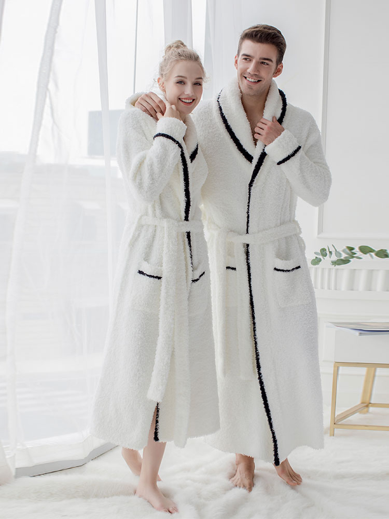 Exquisite White Men Women Winter Bathrobes Europe Home Wear Soft Terry String Dressing Gown Couple Thick