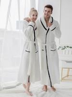 2018 New Men Women Autumn Winter Bathrobes White Soft Plush Terry Couple Bath Robes Male Female Home Warm Large Size Long Robe