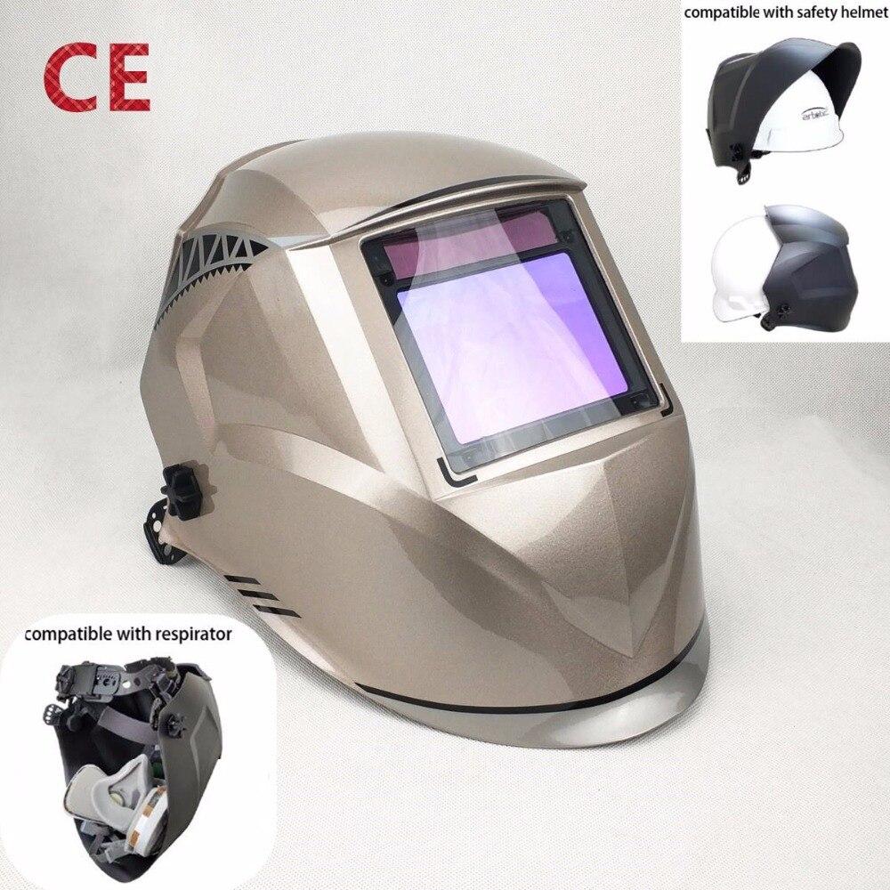 De soudage Masque Meilleure Qualité Optique 1/1/1/1 Grande Vue 100*73mm 3.94*2.87 Respirateur Sécurité Chapeau Compatible CE Solaire Casque De Soudage