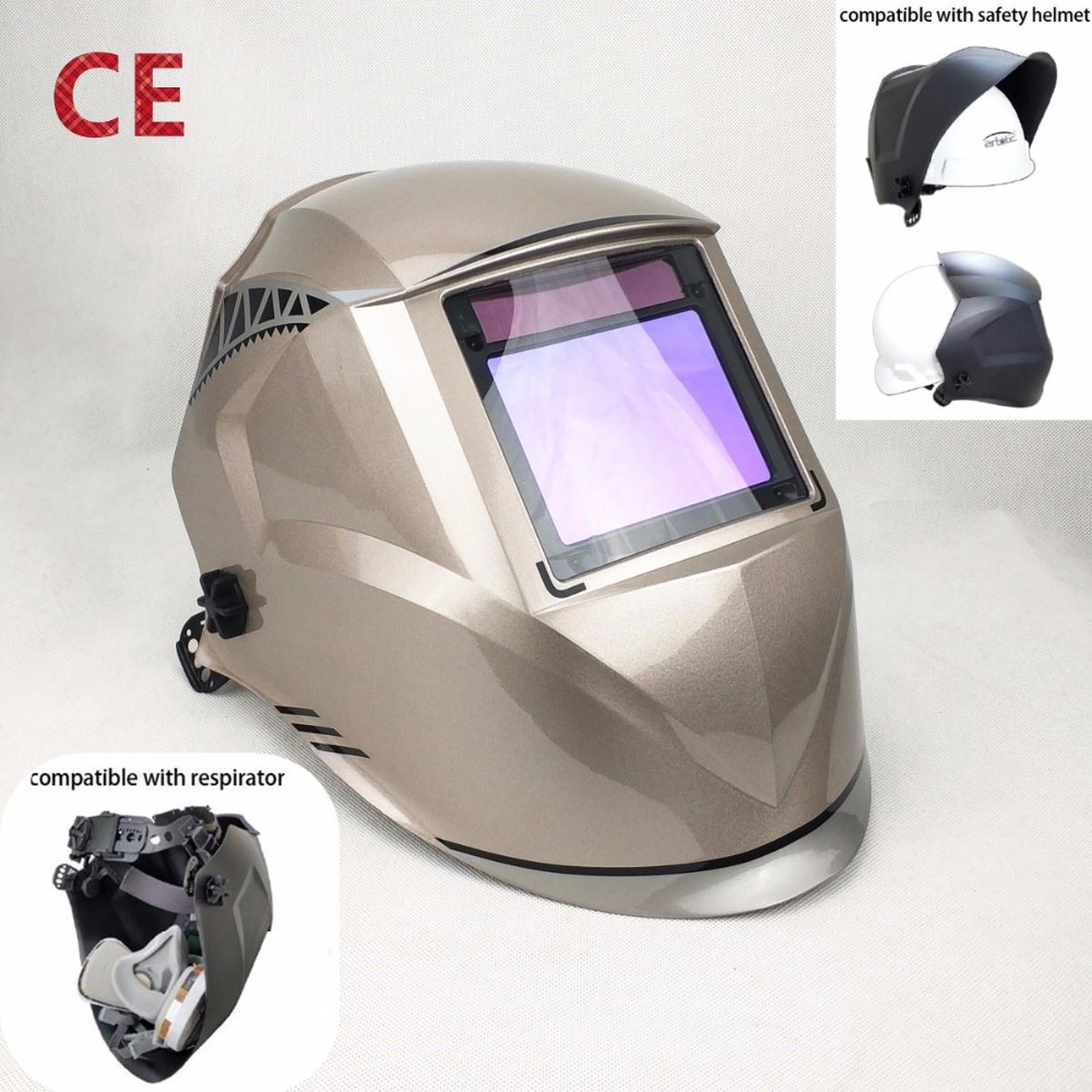 Welding Mask Best Optical Quality 1/1/1/1 Big View 100*73MM 3.94*2.87 Respirator Safety Hat Compatible CE Solar Welding HelmetWelding Mask Best Optical Quality 1/1/1/1 Big View 100*73MM 3.94*2.87 Respirator Safety Hat Compatible CE Solar Welding Helmet