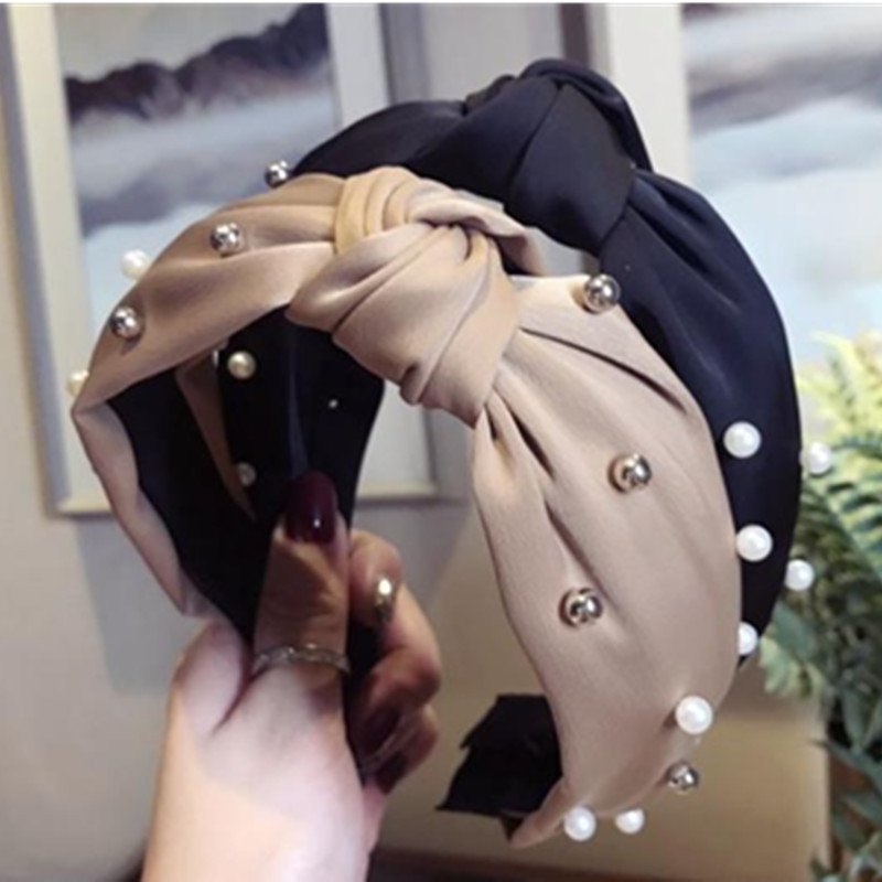 Women Pearls Headband Solid Bow Knotted Center Hairband for Adult Girls   Headwear   Boutique Wide Hairband Fashion Hair Hoop Bow