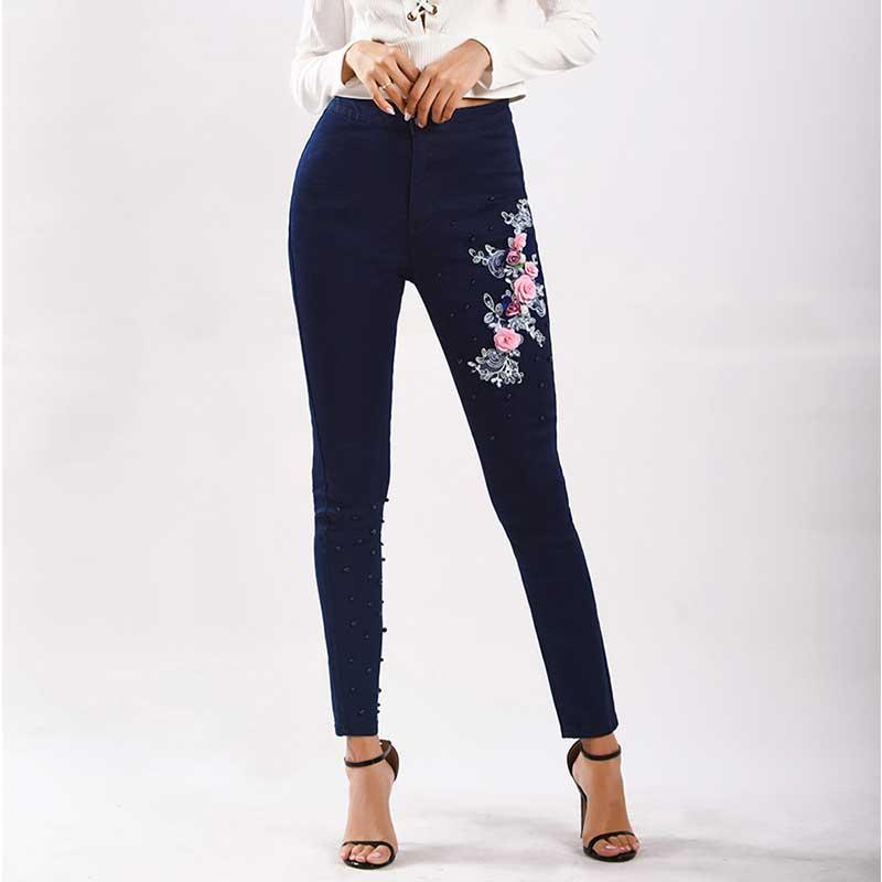 Femmes Élégant Brodé Fleur Jeans avec Perles Bleu Marine Fente Oversize Femme Perles Taille Haute Denim pantalons Crayon