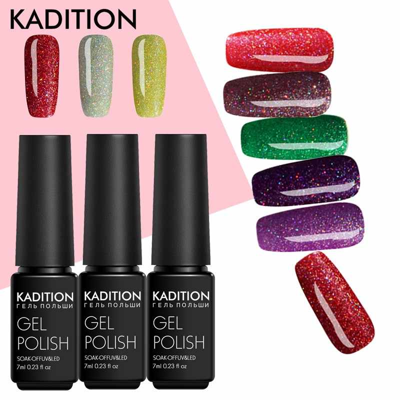 KADITION 7 ml Gel de neón esmalte de uñas brillo remojo de la capa superior de Gel laca DIY UV LED uñas arte barnices de Gel semipermanentes