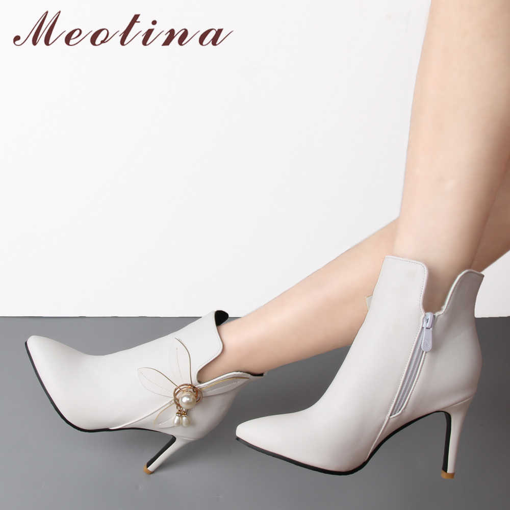 Meotina Kadın Bot Ayakkabı Kış Çiçek Yüksek Topuk Çizmeler Taklidi yarım çizmeler Fermuar Sarı Beyaz Düğün Ayakkabı Artı Boyutu 45 46