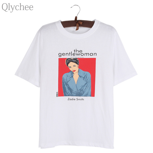1cd973fc0 Qlychee the gentlewoman magazine Print T Shirt Female Lady Casual Loose  Short Sleeve O Neck Tops