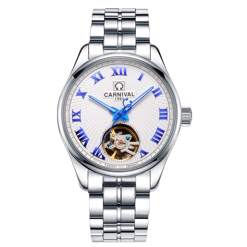 где купить Luxury Carnival Watch men tourbillon silver stainless steel Automatic machine Waterproof Roman wristwatch relogio masculine по лучшей цене