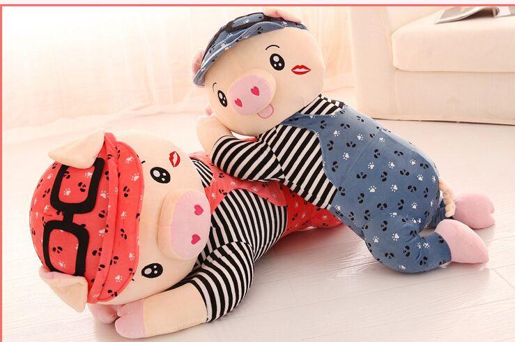 cartoon dressed cloth prone pig plush back cushion soft throw pillow toy home decoration birthday gift a1867