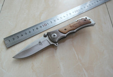 Browning Small Folding Pocket Knife Satin Wood +Aluminum Handle Hunting Tactical Knife 1618#