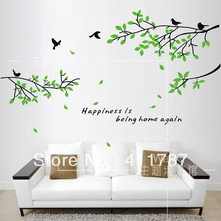 Elegant Free Shipping Home Decor Wall Decor Large Birds Tree Leaves Wall  Art Decal Bedroom Wall Stickers With Bedroom Wall Art