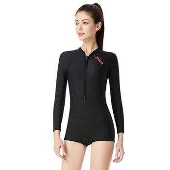 Perfeclan Women Bikini Long Sleeve Diving Swimming Suits One Piece Warm Snorkeling Zip Elastic Neoprene Wetsuit Female 5