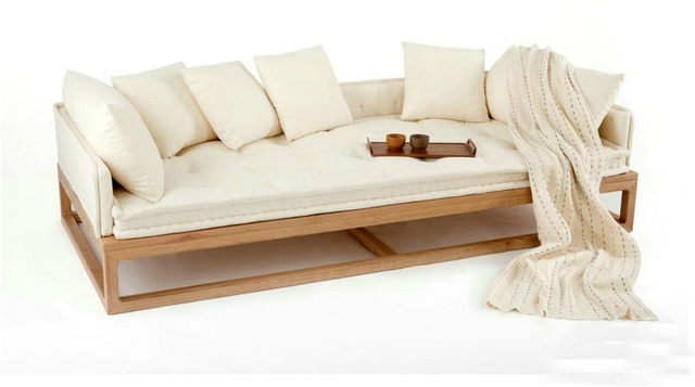 Bon New Oriental Zen Zen Rohan Couch Bed Old Elm Chinese Trio Sofa Couch Sofa  Design Models