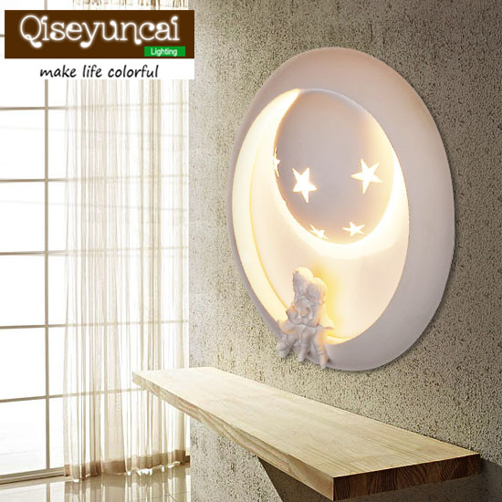 Qiseyuncai Creative cartoon art wall lamp wall of the living room children room bedroom aisle stairs corridor lamp Hotel bedside