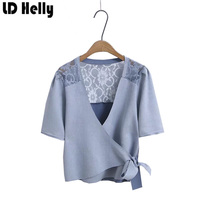 LD Helly Lace Patchwork Suede Women Blouse Summer Bow Drawstring V Neck Short Sleeve Shirts Ladies