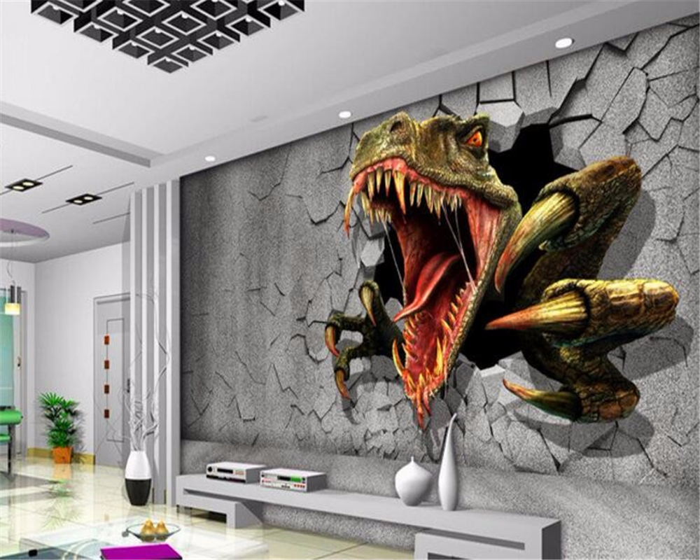 Custom wall mural wallpaper dinosaurs photo sitting room for Wallpaper images for house walls