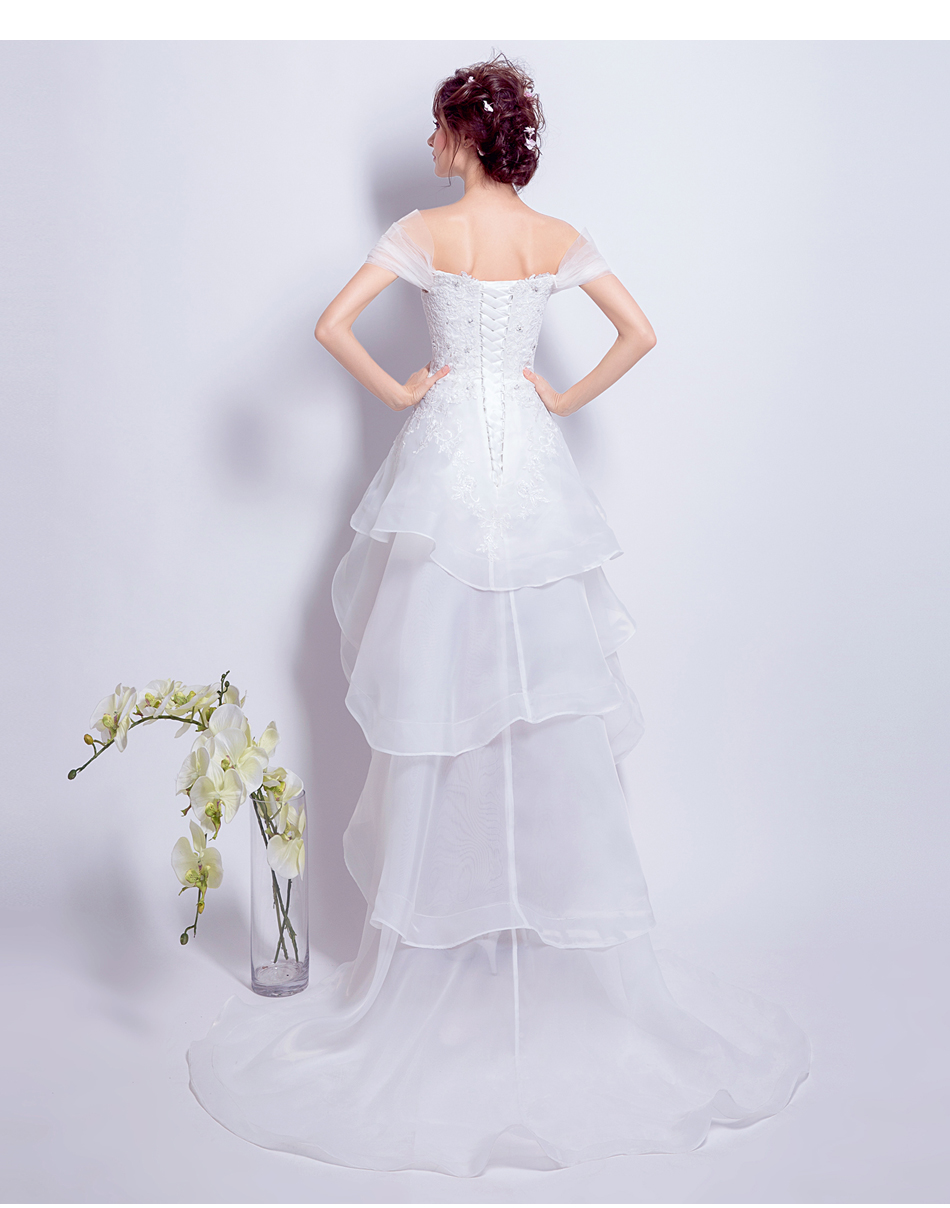 Beauty Emily Luxury Tiered White Asymmetrical Wedding Dresses 2017 Scoop Wedding Party Bride Ceremony Dresses High Quality in Wedding Dresses from Weddings Events