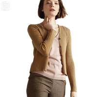 New V neck Ribbed Cardigan Short Spring Sweater Womens Wool Vertical Rebbing Cardigan Cashmere female Knitted cardigans