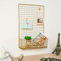 DIY Iron Mesh Photo Storage Shelf Wall Decorative Wire Wall Art in Living Room Photograph Hanging Picture Memo Board Golden