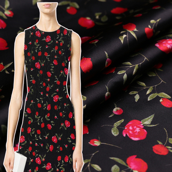108cm wide 19mm 100% silk stretch satin flower in full bloom silk pattern heavy fabric set skirt pants clothes fabric