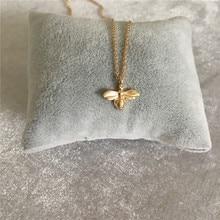 Милое Золотое Медовое ожерелье с кулоном «пчела» для женщин и девочек