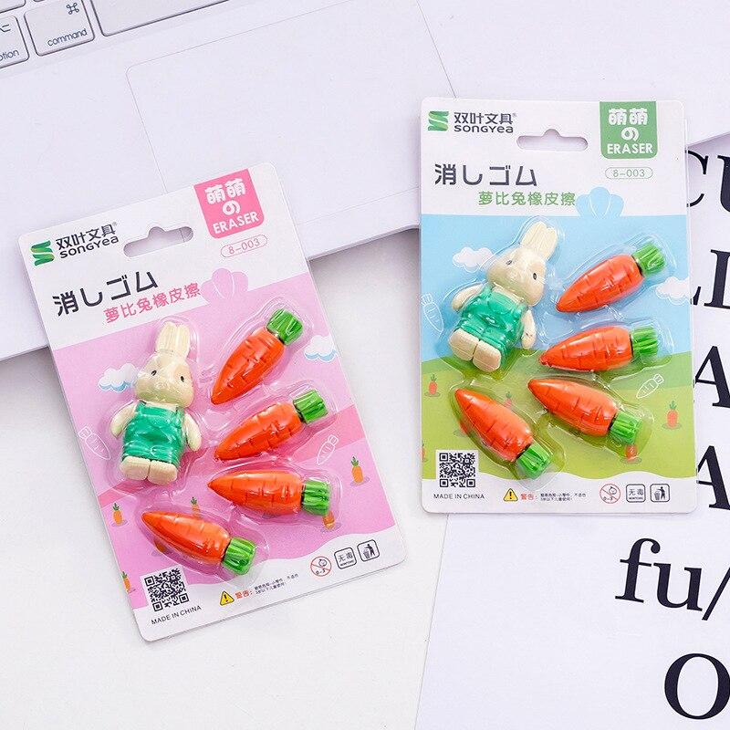 10set/lot Cute Rabbit Carrot Blister-card Eraser / Rubber Eraser Suit / Student Eraser/toy Children Gift