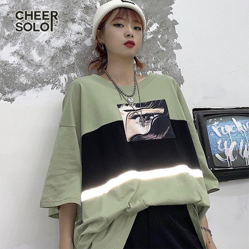 CheerSolo Harajuku Oversized T Shirt Women Reflective Summer Top Cartoon Anime Tee Shirt Black Green Tshirt Japanese Streetwear