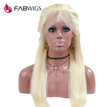 Fabwigs Silky Straight Glueless Lace Front Wig #613 130% Density Blond Human Hair Wig with Baby Hair For Black Women Remy Hair