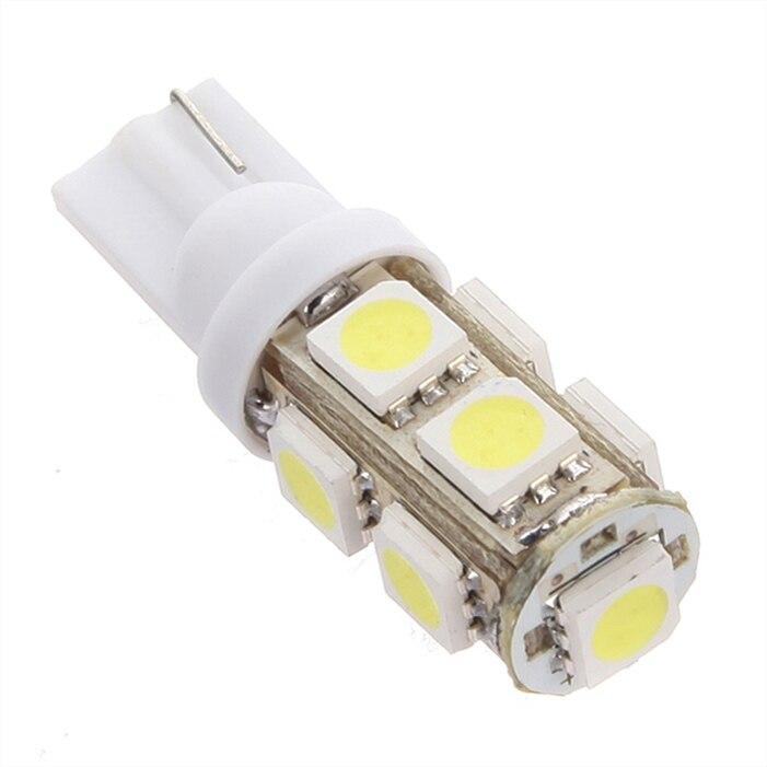 T10 9SMD 5050 Car 194 168 192 W5W 9 LEDs Light Auto LED Bulbs Lamp Wedge Interior Light R/G/B/Y/W Wholesale 50pcs