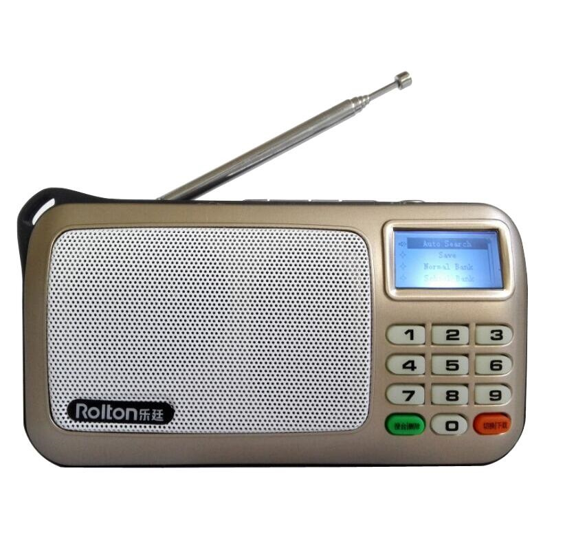 Rolton T303 Mini FM Radio Speakers Portable Column TF Card MP3 Player With English Screen LED