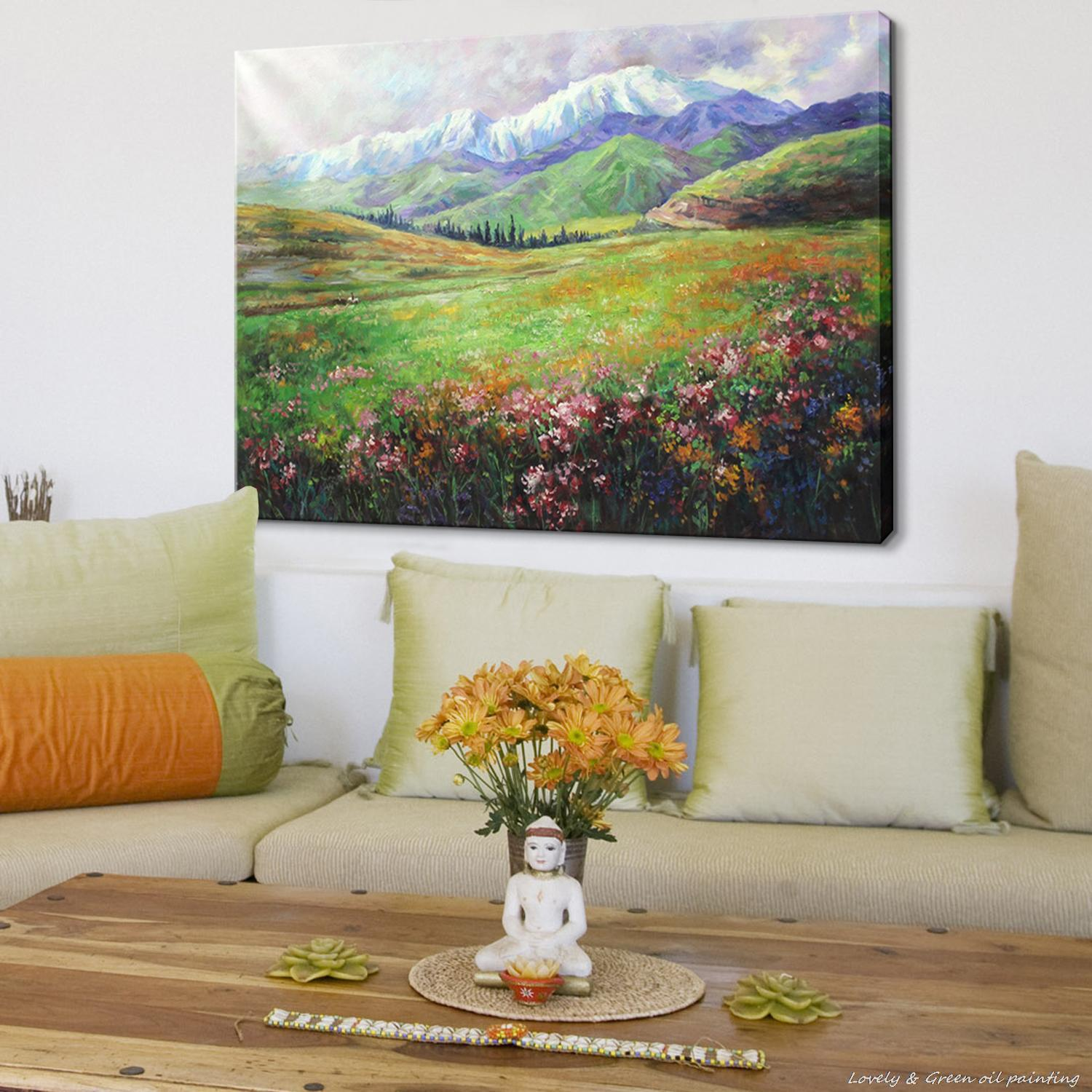 Oil Painting For Living Room Aliexpresscom Buy Hand Painting Spring Blossoms Natural