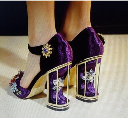 Women Suede Leather Round Toe Black Red Purple Strange Heel Rhinestone Pumps Ankle Strap Crystal Cut-out Thick Heel High Heels
