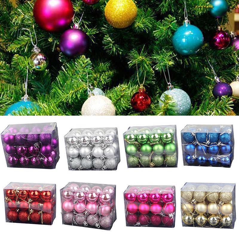 Christmas Tree Balls Decorations.24pcs Lot Christmas Tree Decor Ball Bauble Hanging 3cm Ball Xmas Party Ornament Decorations For Home Christmas Tree Ball Decor