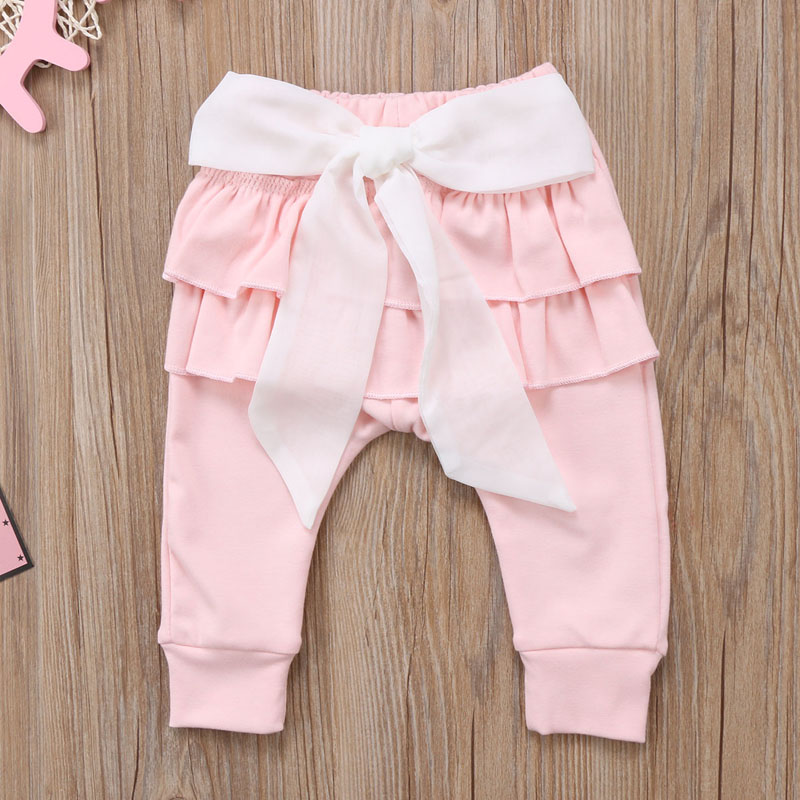 Infant Baby Girl Layered Ruffle Pants Toddler Kid Long Pants Bowknot Casual Bottoms Clothing 4