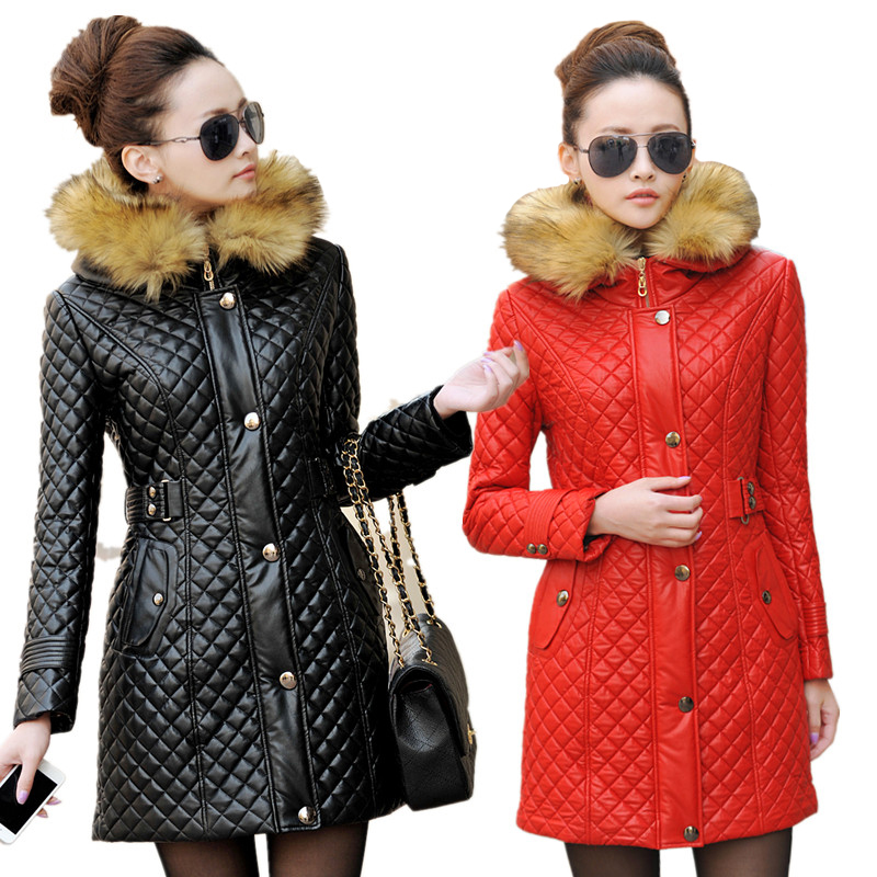 2017 Autumn Winter Leather Jacket Women Brand Hooded PU Leather Coat Women Fur collar Faux Leather Jacket Female Red Black M-3XL