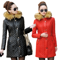 2015 Autumn Winter Leather Jacket Women Brand Hooded PU Leather Coat Women Fur Collar Faux Leather